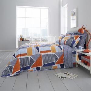 Cillian Bedspread 200x220cm - Blue/Orange