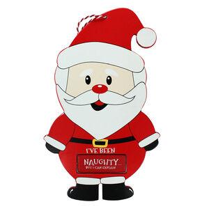 Naughty or Nice Santa Wooden Plaque