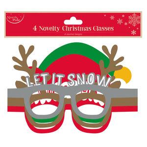 Novelty Christmas Glasses - 4 Pack