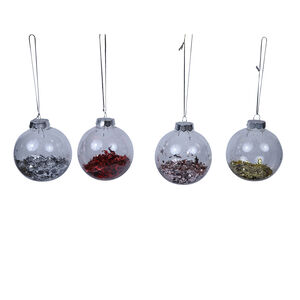 Plastic Glitter Bauble 80mm