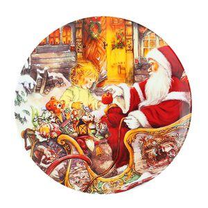 Santa and Little GIrl Round Platter