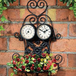 Black Outdoor Planter Clock