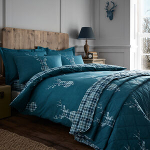 SINGLE DUVET COVER Brushed Cotton Stag Check Teal