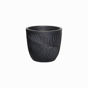 Small Washed Leaf Design Fibre Clay Pot - Black