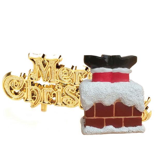 Santa in Chimney Christmas Cake Toppers
