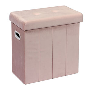 Folding Slim Storage Ottoman - Soft Pink