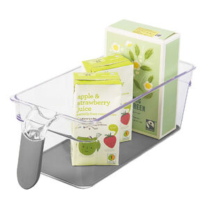 Clear Handled Storage Basket Narrow