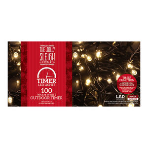 100 Warm White Outdoor LED Timer Lights
