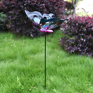 Blue Stained Glass Butterfly Garden Stake