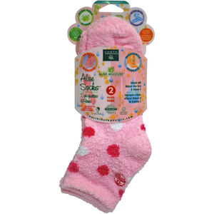 Moisturising Aloe Socks Pink Polka 2Pk