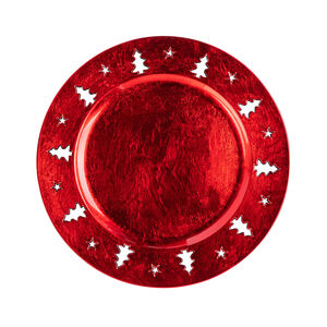 Christmas Tree Luxe Charger Plate - Red