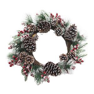 Xmas Berry Pinecone Wreath w/ Snow 50cm - Red