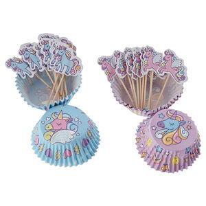 Unicorn Cupcake Cases and Toppers Set of 48
