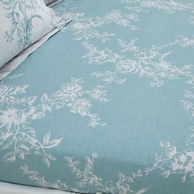 LAURA DUCK EGG Single Fitted Sheet