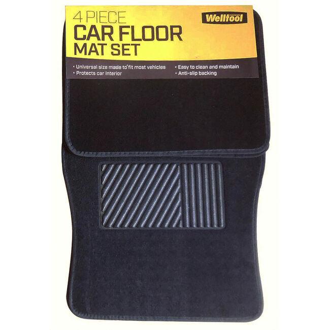 Car Floor Mat 4 Piece - Black