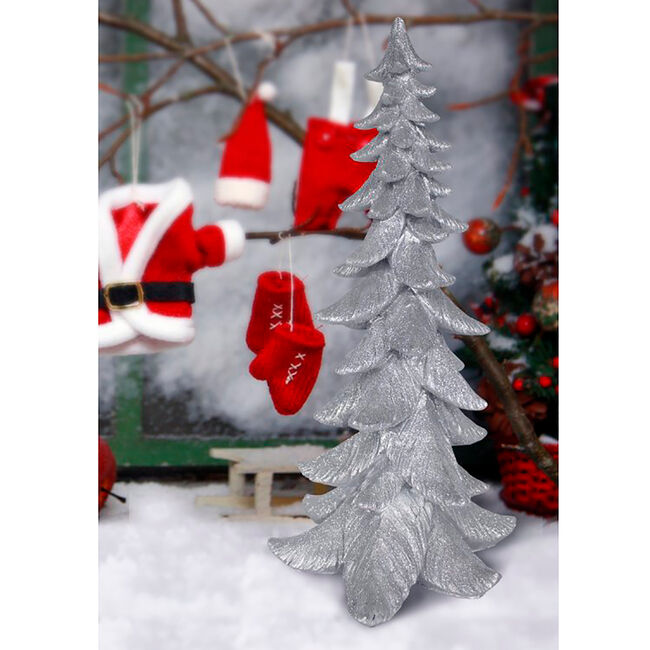 Glitter Christmas Tree 37cm - Silver
