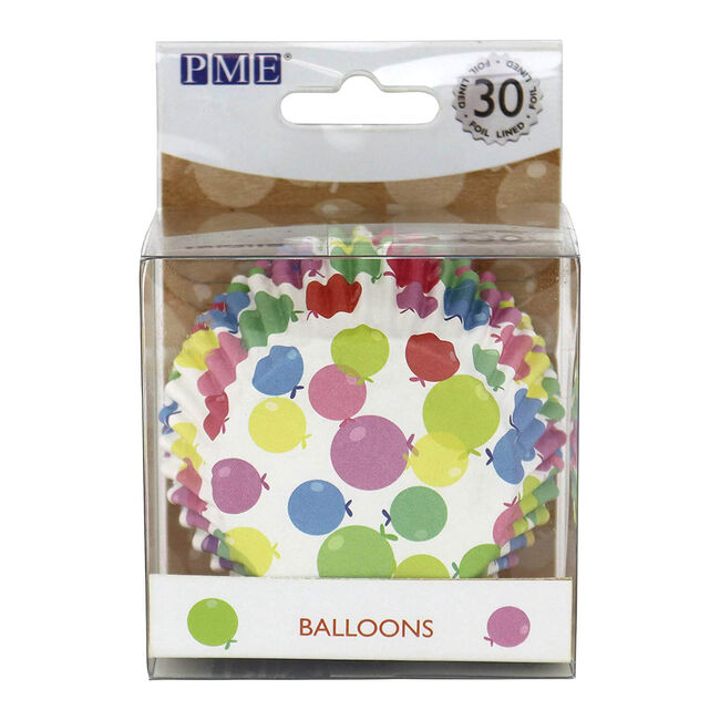 PME Foiled Lines Balloons Cupcake Cases - 30 Piece