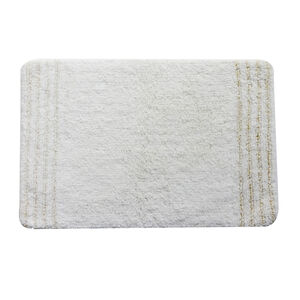 Cotton Metallic Cloud White Bath Mat