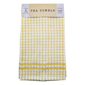 Mono Check Ochre Tea Towels