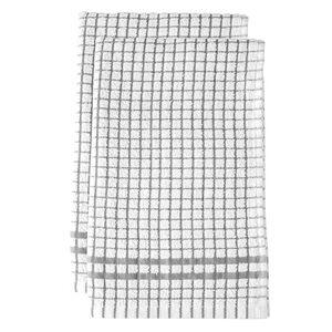 Mono Check Tea Towels 2 Pack - Dove Grey