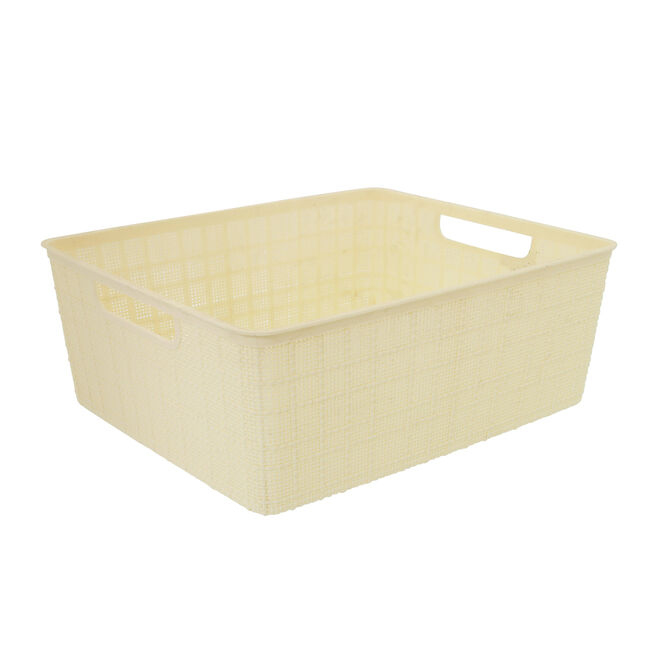 Hessian Cream Storage Basket 12L