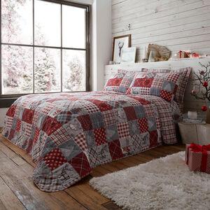 Patchwork Christmas Bedspread 200 x 220cm - Grey