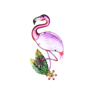 Stained Glass Pink Flamingo Garden Wall Art