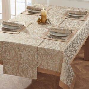 Damask Medallion Table Cloth Gold 160 x 183cm