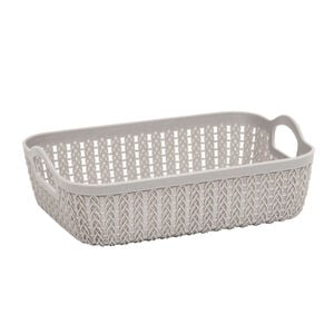 Knit Charcoal Rectangle Storage Tray 27x20cm