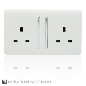 Trendi 13 Amp 2 Gang Switched Socket - White