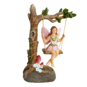Garden Fairy On Swing Solar Light