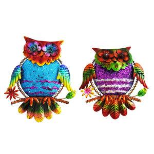 Glitter Owls Garden Wall Art Set of 2