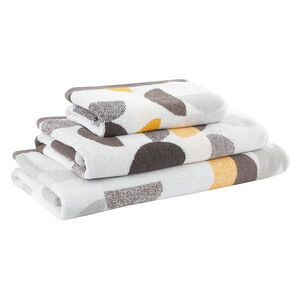 500GSM MARL CIRCLES OCHRE/CHAR Hand Towel