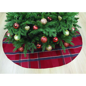 "Plaid Damask Tree Skirt 52"" - Red"