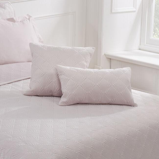 Quilted Hotel Velvet Cushion 45 x 45cm - Blush