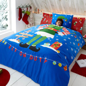 SINGLE DUVET COVER Brushed Cotton Elf Yourself