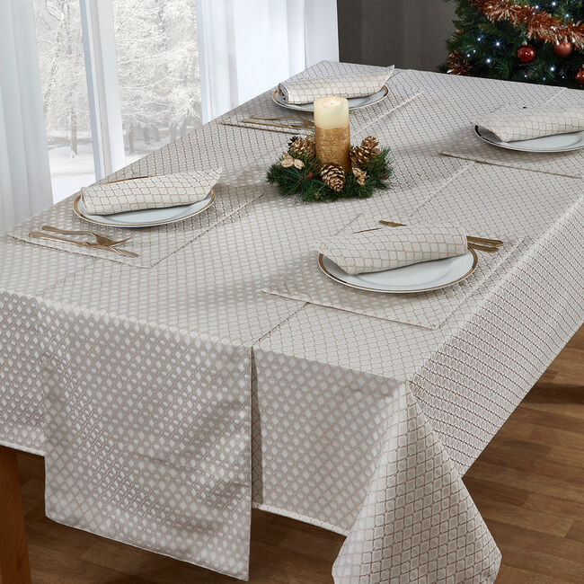 Diamond Geo Table Cloth Gold 160 x 230cm