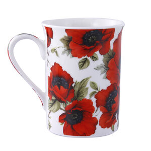 Red Poppy Bone China Mug