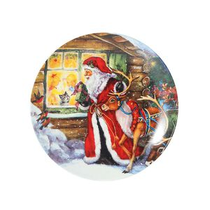 Santa By The Window Large Plate