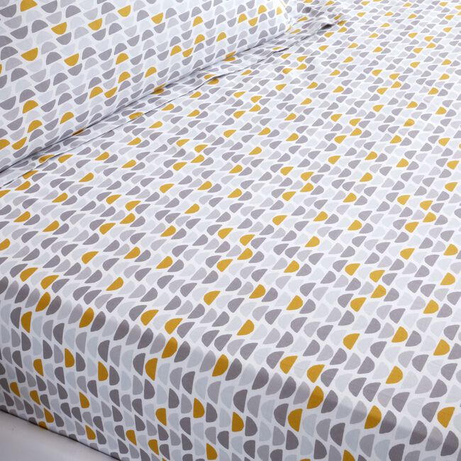OLIVER GREY/OCHRE Double Fitted Sheet
