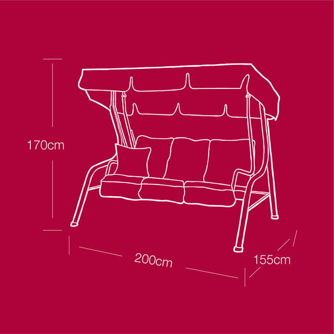 Deluxe 3 Seater Swing Chair Cover 380GSM