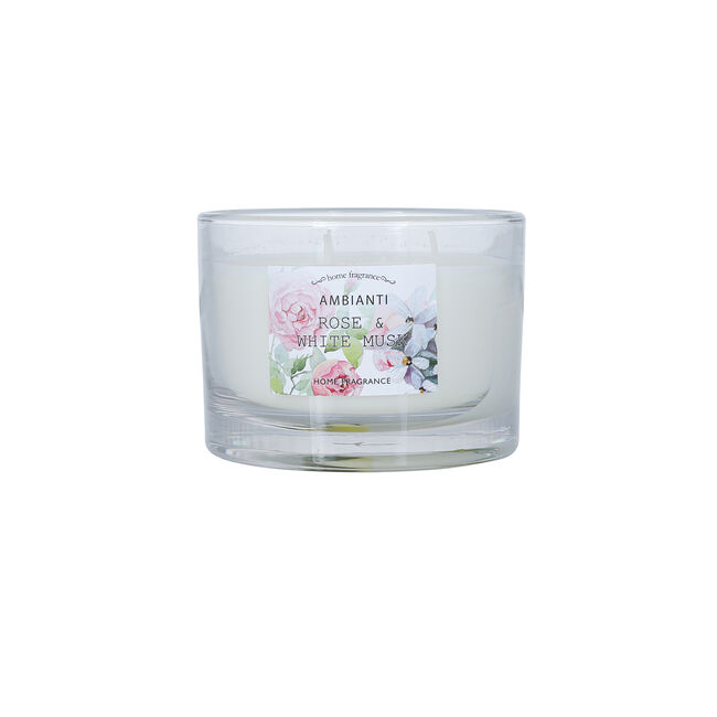 Ambianti Rose & White Musk 3 Wick Scented Candle