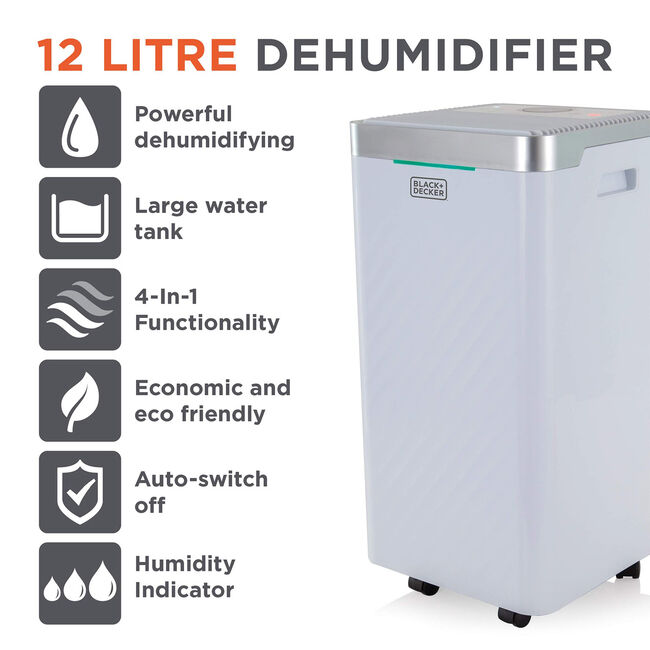 Black + Decker 12L Dehumidifier