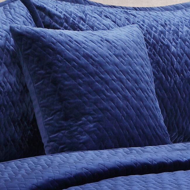 Quilted Hotel Velvet Navy Cushion 45x45cm