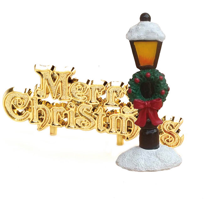 Snow Lamp Post Christmas Cake Toppers