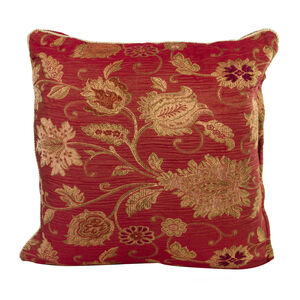Chenille Floral Red Cushion 58cm x 58cm