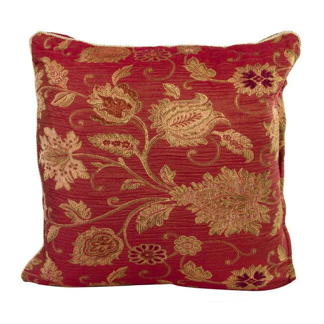 Chenille Floral Red Cushion 58cm x 58cm