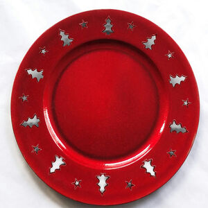 Christmas Tree Charger Plate - Glitter Red