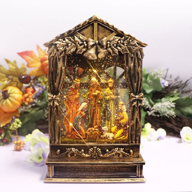 Lightup Nativity Scene Swirling Glitter Lantern