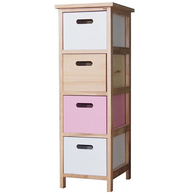 Kari 4 Drawer Pink/White Unit